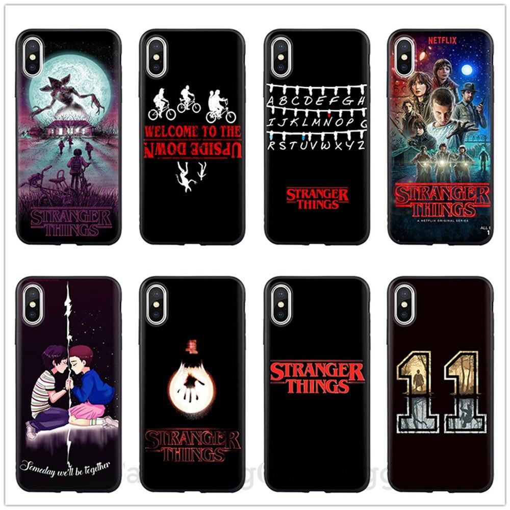Extraño las cosas las luces de Navidad suave negro de silicona carcasa para iPhone 6 6S 5 5 5S SE 7 7Plus 8 8 X XR XS MAX de la cubierta del teléfono de Coque para iPhone 11 Pro Max