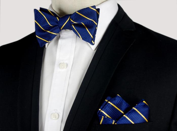 SHENNAIWEI mens bowties and pocket squares gravata borboleta Jacquard Woven Men Butterfly Self Bow Tie & Handkerchief Suit Set