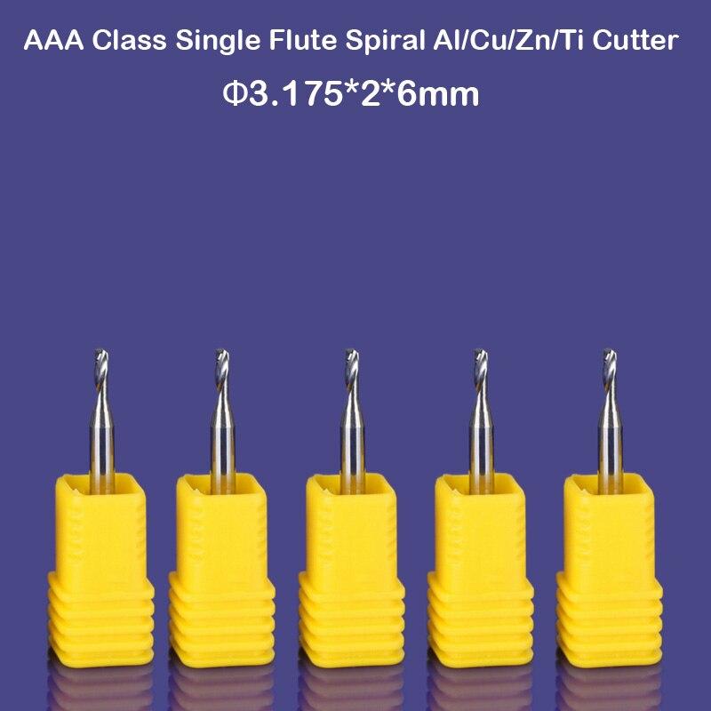 Calidad superior, importación CED 2mm CEL 6 MM, Herramientas CNC, brocas de carburo de grabado, fresa de extremo de aluminio de flauta única, cortador para aluminio