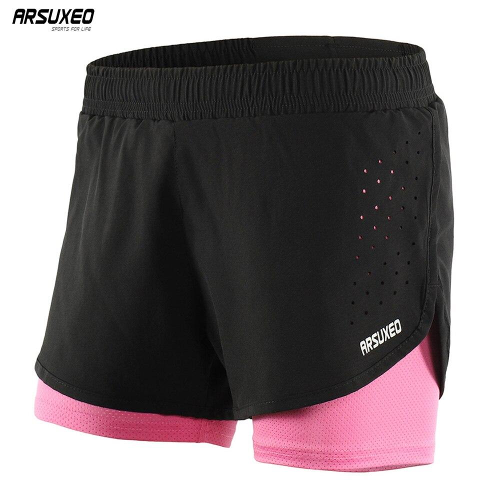 ARSUXEO Women Running Shorts  Women 2 in 1 Training Fitness Gym Shorst Tights Femme Outdoor Sportswear Quick Dry Marathon B1101