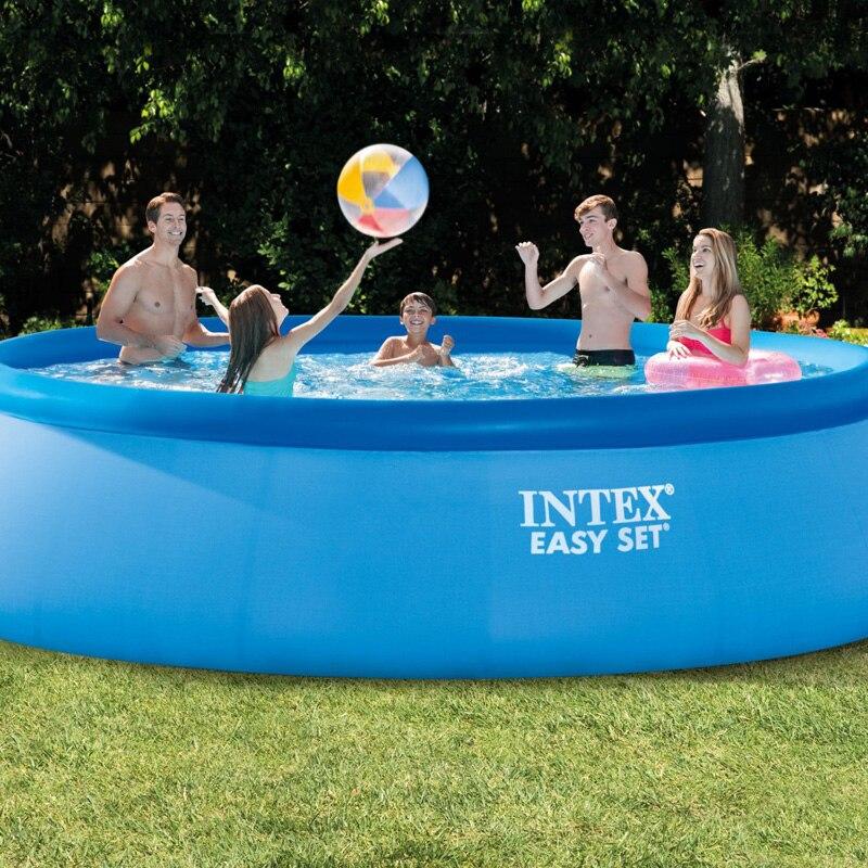 INTEX 15 piedi 457*84 centimetri piscina fuori terra piscina facile set piscina gioco di estate di nuoto piscina di famiglia scaletta filtro pompa set