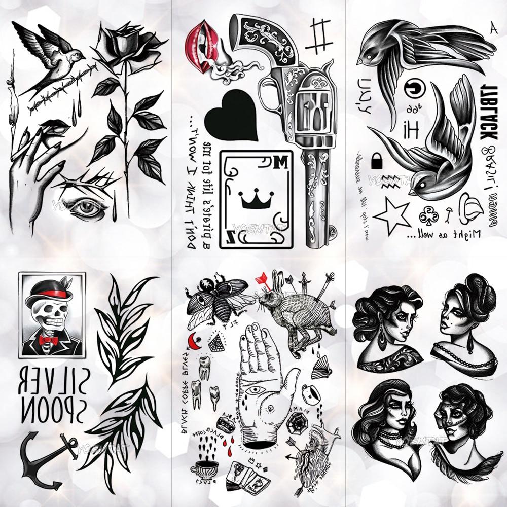 Pistola de póker de la vieja escuela, corazón negro, tatuaje a prueba de agua temporal, tatuaje de Golondrina, Cráneo, Flash, tatuajes, arte corporal, brazo, Tatuaje falso, hombres