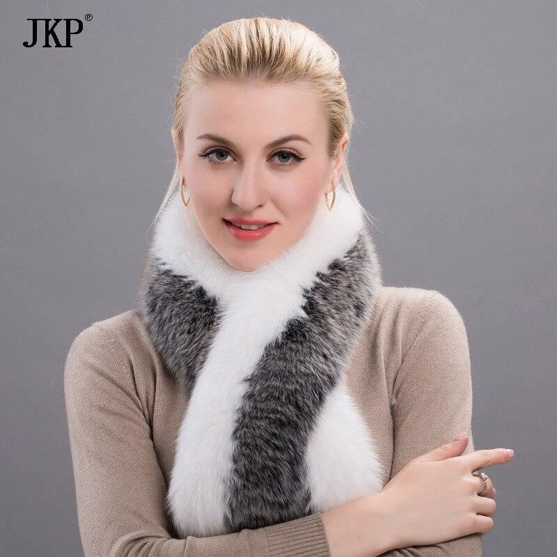 JKP جديد النساء الشتاء الثعلب الحقيقي الفراء وشاح من حقيقية الثعلب الفراء والأوشحة الفرقة جديد الدافئة شال 1