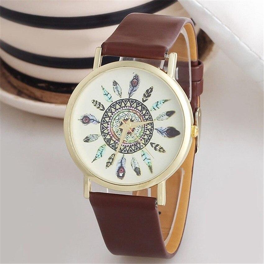 #5001 das mulheres do vintage pena dial pulseira de couro quartzo analógico exclusivo relógios de pulso reloj mujer nova chegada freeshipping venda quente