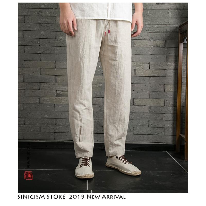 Pantalones Vintage de lino Kong Fu para hombres pantalones Retro de estilo chino de encaje sólido de verano 2019