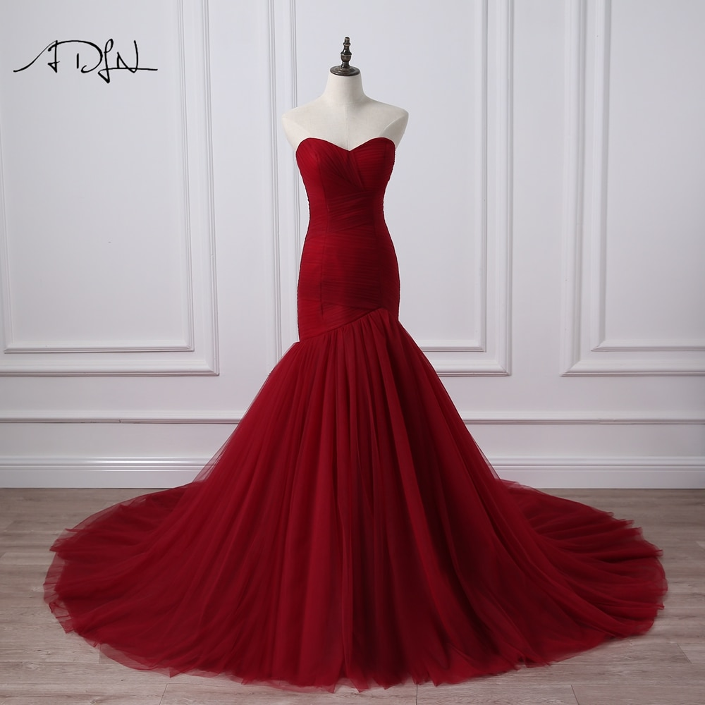 ADLN Foto Real Corset Corpete Vestido De Noiva Sereia Borgonha Vestidos de Noiva Robe De Mariage Rouge Plus Size Disponível