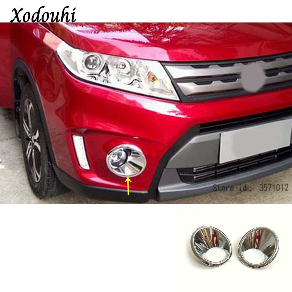 For Suzuki Vitara Escudo 2016 2017 2018 2019 Car Body Front Fog Light Lamp Detector Frame Stick Styling ABS Chrome Trim Parts
