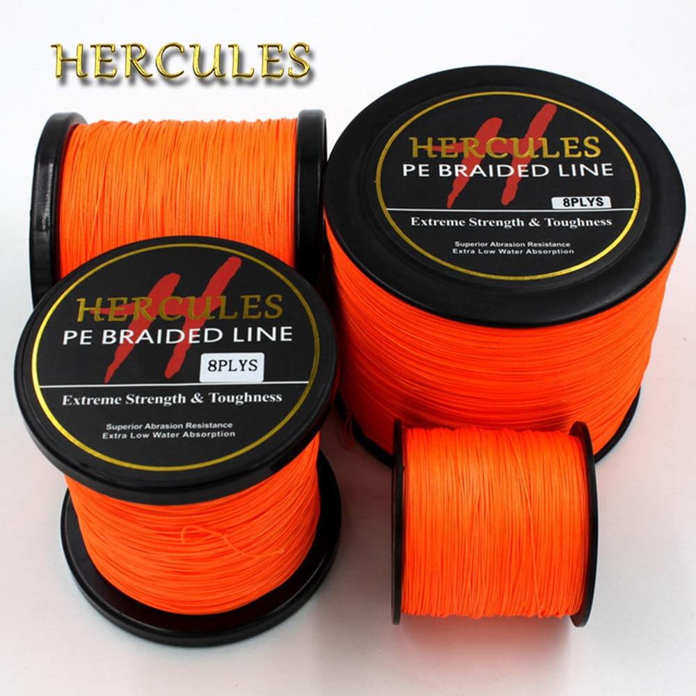 Леска плетеная оранжевая, 100 м, 300 м, 500 м, 1000 м, 1500 м, 2000 м, для морской и морской рыбалки на карпа, 100% PE Hercules