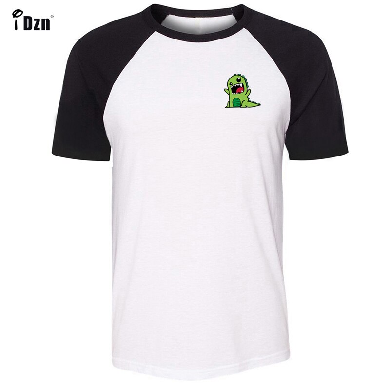 Camisetas de manga corta para hombre raglán lindo verde ira estampado de dinosaurio cuello redondo Tops para hombre moda de verano Casual camiseta para niños Tops camisetas