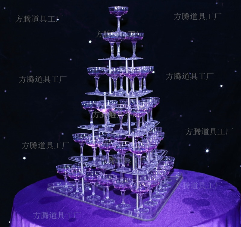 Beautiful Wedding champagne Tower Wine Town With Five Tiers Party Decoration Wedding Props
