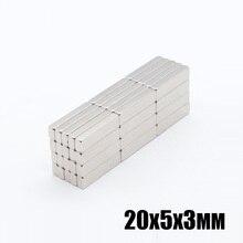 50pcs 20x5x3mm très fort néodyme bloc aimants 20x5x3mm N35 Grade puissant aimant Permanent 20x5x3mm