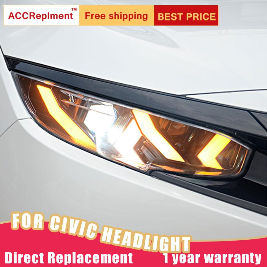 2Pcs LED Headlights For Honda Civic 2016-2019 led car lights Angel eyes ALL LED KIT Fog lights LED Daytime Running Lights