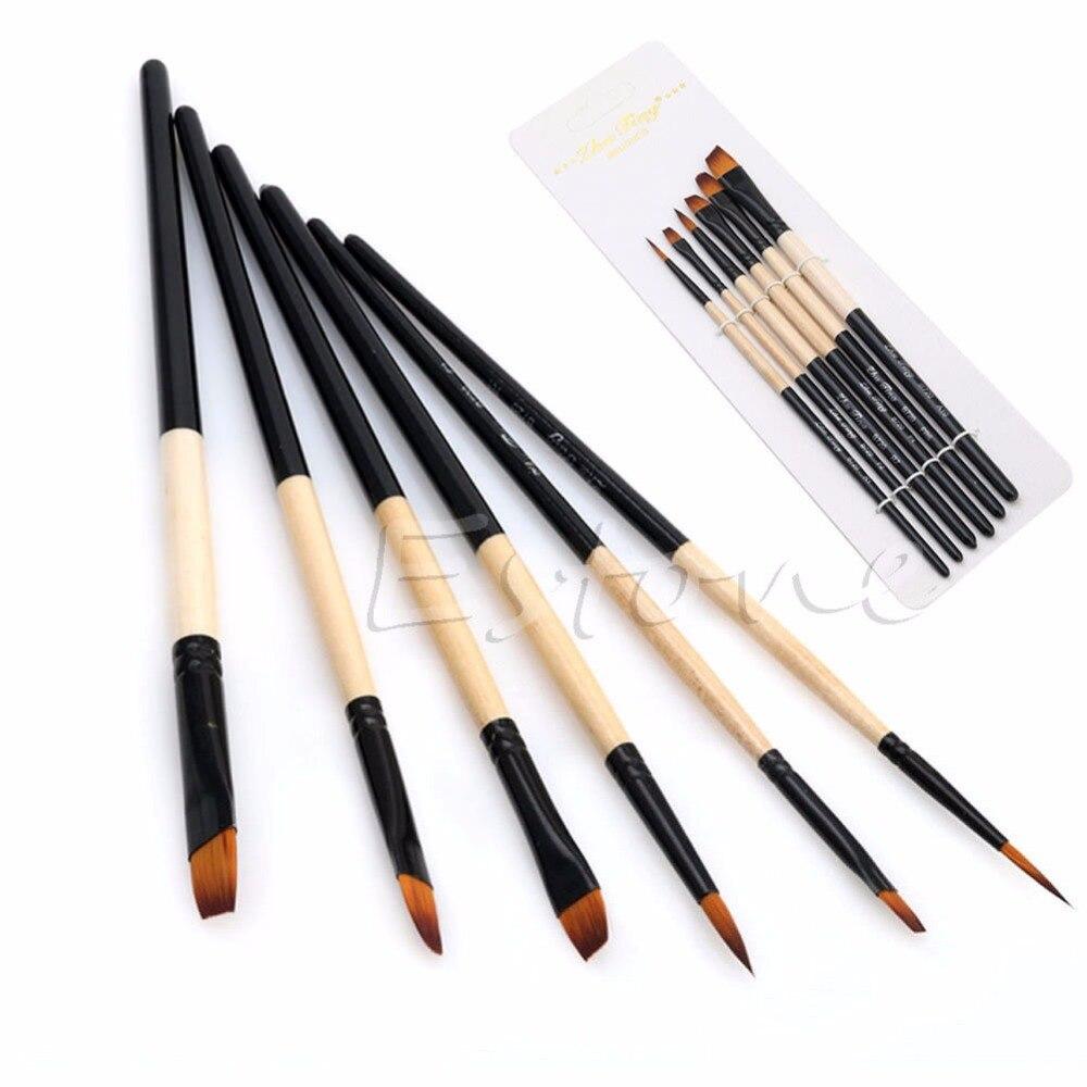 Nuevo conjunto de 6 unidades de pintura plana con cerdas de nailon Gouache, pintura al óleo de acrílico, arte