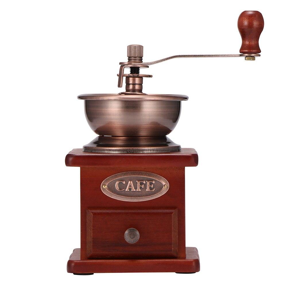 Ретро мельница для кофе в зернах ручная коническая шлифовальная машина классическая деревянная ручная кофемолка