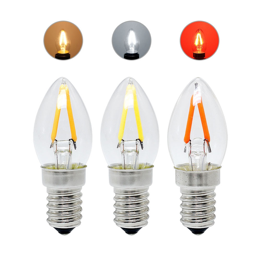 Винтажная Светодиодная лампа в ретро стиле, E14 220 В, 2 Вт, лампа накаливания, теплый белый/холодный белый/красный, лампа для праздничного освещ...