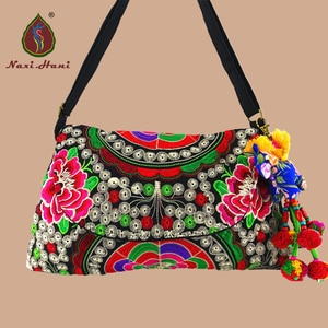 Buy 1 get 1 free pures National style embroidered hobos vintage cover canvas women handbags fashion Inclined shoulder bags