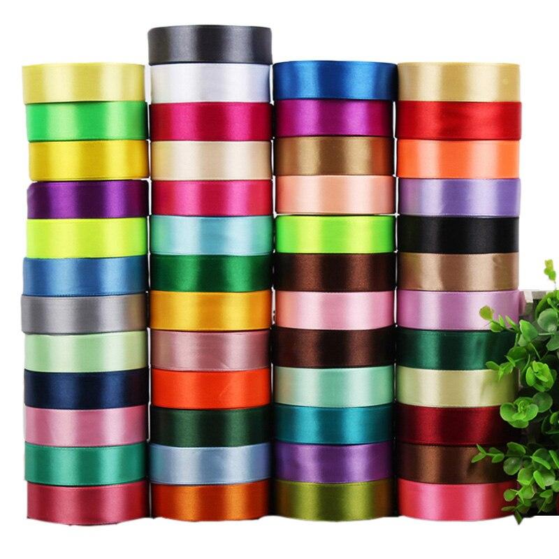25mm 25 Quintal Única Face Fita de Cetim de Seda Barato Artesanato de Presente Decorativo Envoltório Do Casamento Do Natal Branco Vermelho Rosa Preto fitas
