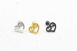 Free Shippment 50PCS Body jewelry-Ear Stud Tragus/Helix Bar/Stud Heart Love Prong Short Bar Diath Cartilage Earring 16g New