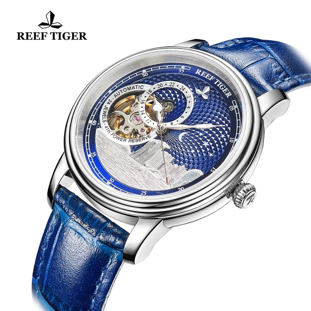 Reef Tiger/RT Top Brand Luxury Watches Mens Rose Gold Blue Mechanical Watch Tourbillon Fashion Watch Clock Relojio RGA1739 enlarge