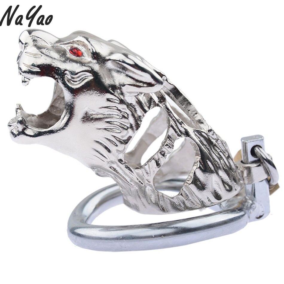 Jaula de castidad masculina con forma de Tigre, anillos para pene, cerradura de jaula de Metal para pene, Dispositivo de Castidad, cerradura de virginidad, anillo LHD005
