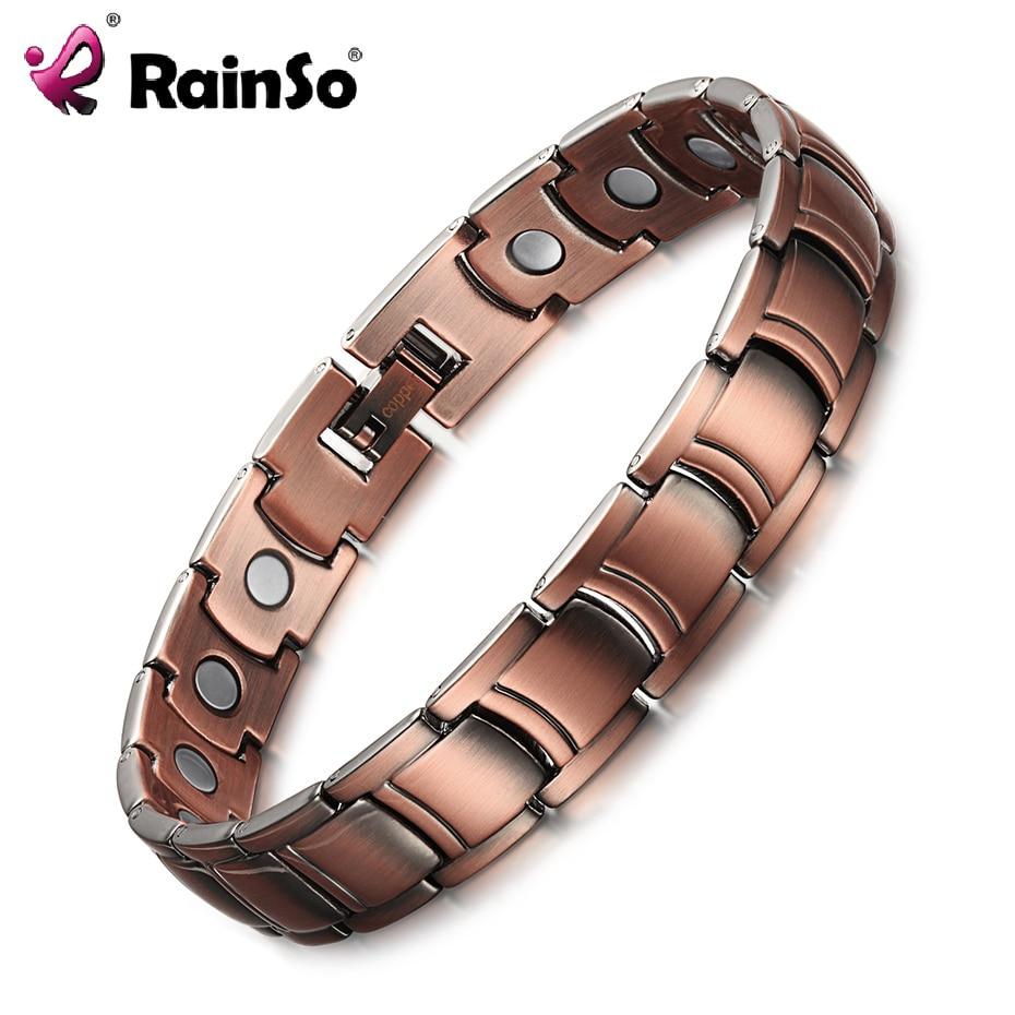 RainSo Для Мужчинs Медь магнитотерапия Браслеты и браслеты для артрит Bio Energy заживление женских украшений Напульсники регулируемый