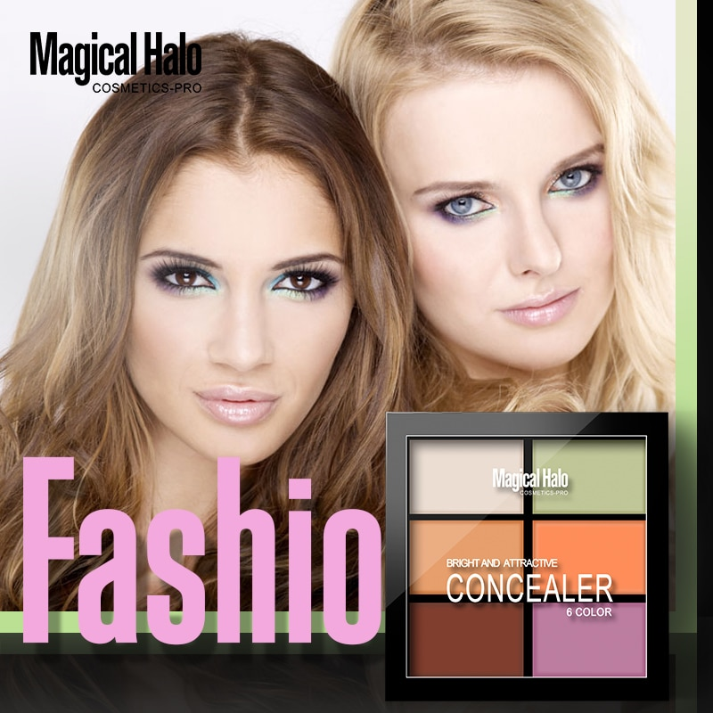 Mágico Halo Pro 6 colores corrector CREMA CONTORNO paleta Kit maquillaje polvo bronceador resaltador recorte cara iluminar cosmético