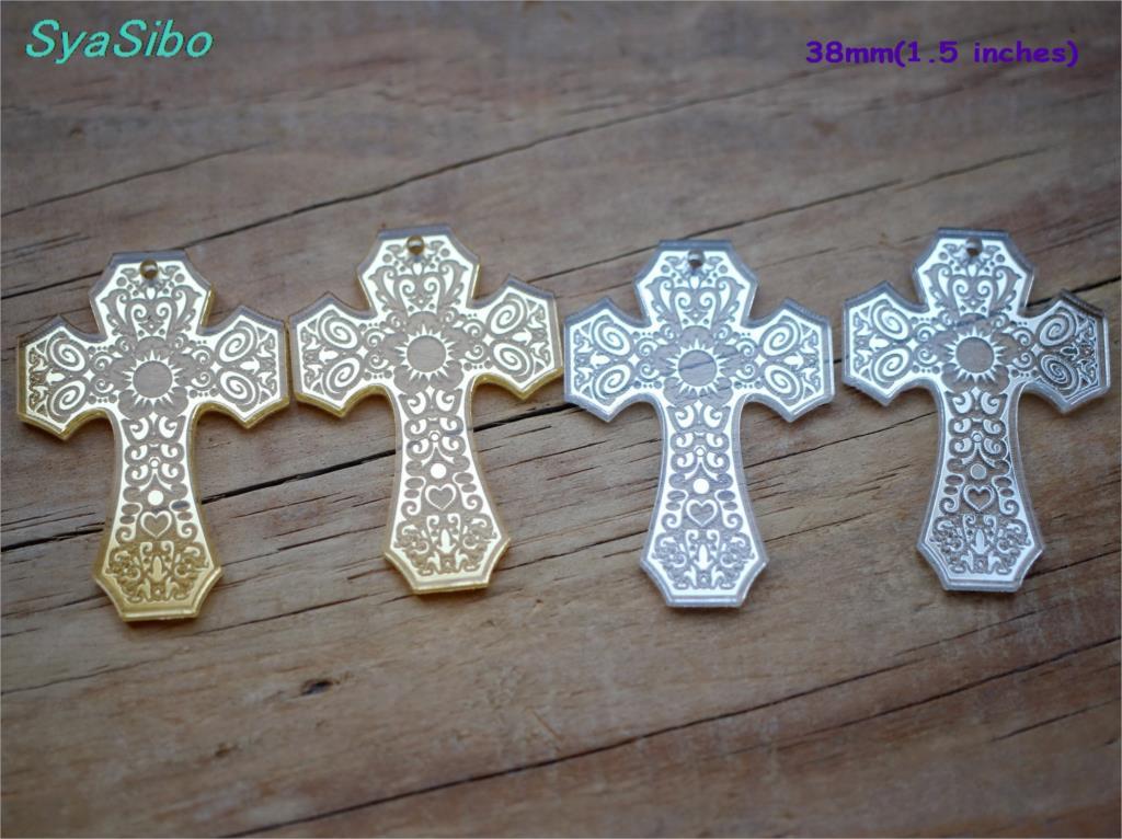 38mm/50MM acrílico Cruz pendientes adornos para Halloween oro y plata espejo láser recorte-AC1425KO