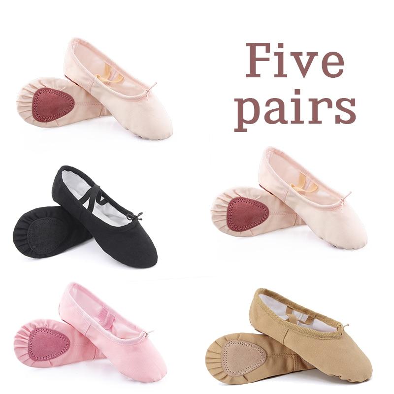 أحذية رقص باليه للبنات 5 أزواج ، أحذية باليه من قماش قطني مقسم بنعل ناعم ، وردي وأسود ، بالجملة