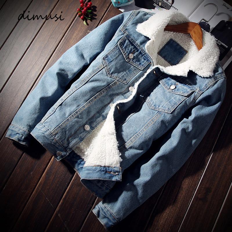 Куртка DIMUSI мужская из денима, модная плотная теплая джинсовая куртка с флисом, Повседневная приталенная ветровка, ковбойская верхняя одежд...