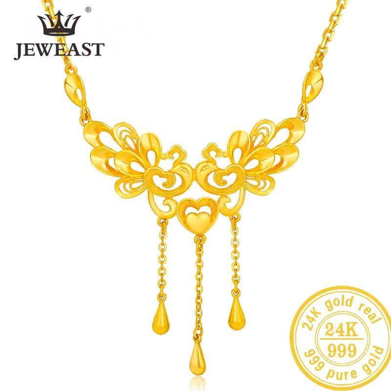 SFE 24K collar de oro puro Real AU 999 cadena de oro sólido hermosa de lujo de moda de fiesta clásica joyería fina Venta caliente nuevo 2019