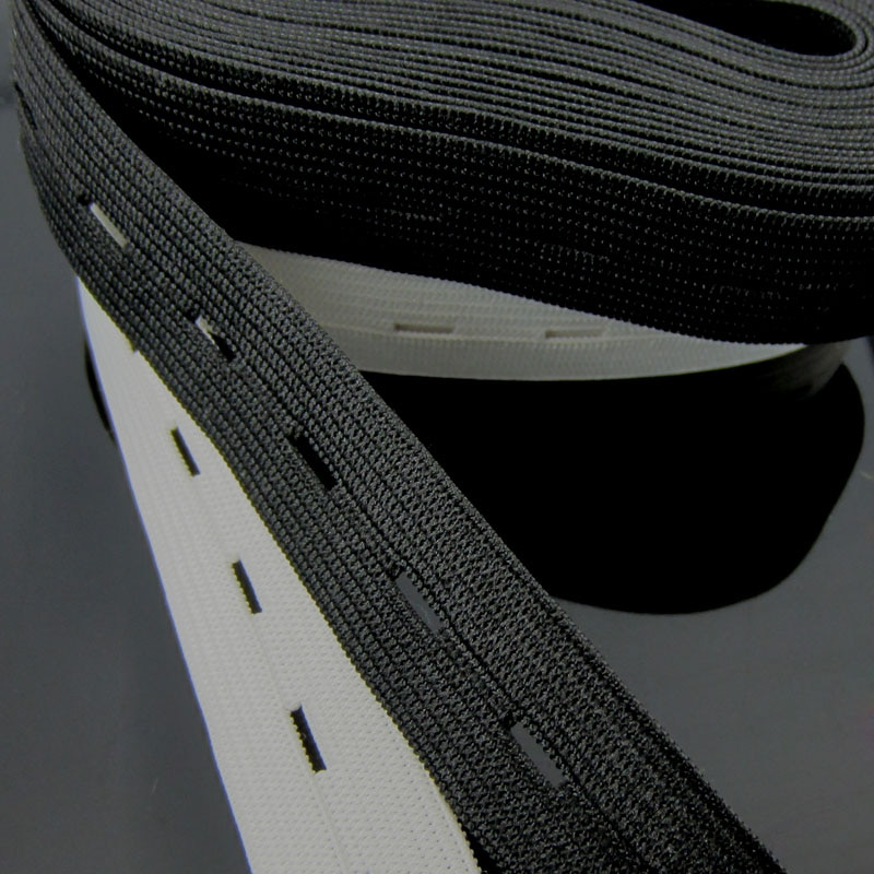 5 Metros de Costura Malha Botoeira Plana Elástica Bandas 15mm Branco e Preto Macio Webbing Elástico