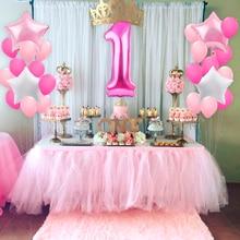 Huiran 1 Year Babyshower Happy Birthday Balloons Foil Baloon Number Ballon 1st Birthday Party Decor Kid Boy Girl First Birthday
