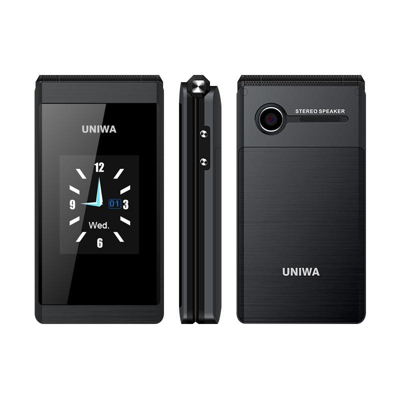 UNIWA-هاتف خلوي قابل للطي X28 لكبار السن ، هاتف خلوي مع لوحة مفاتيح ، GSM ، شريحتين ، راديو FM ، لوحة مفاتيح عبرية روسية