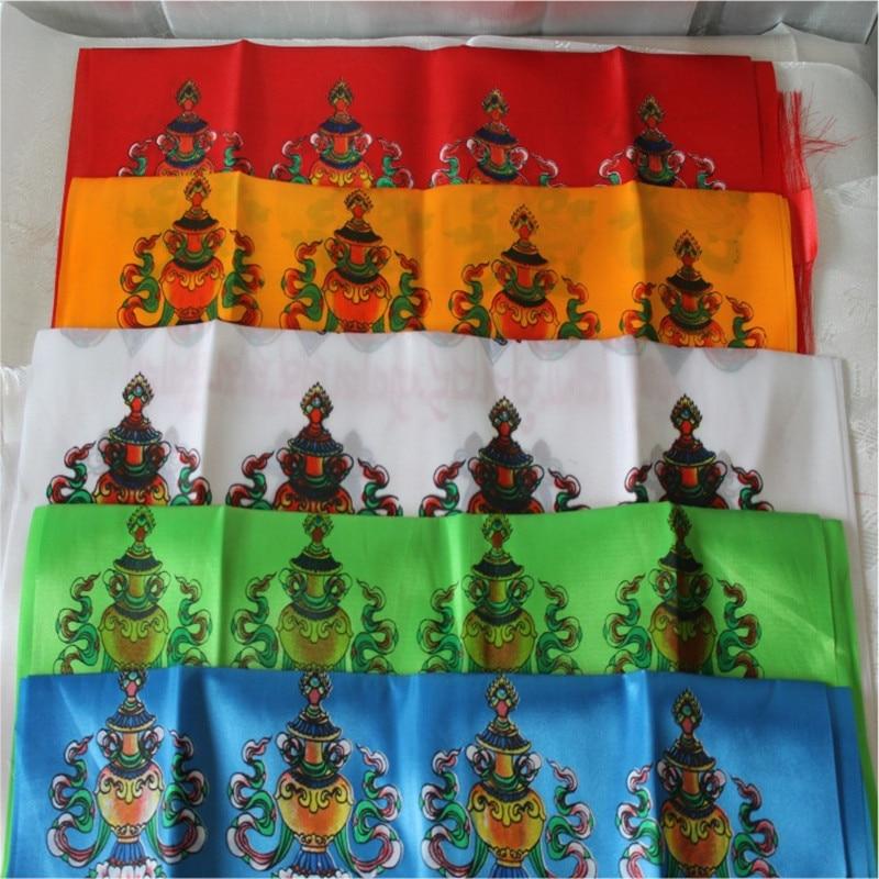 Oito Símbolos Auspiciosos Hada Lindo Requintado Mão Impressa Tecido de Cetim Etiqueta Templo Budista Tibetano De Cetim Decorativa