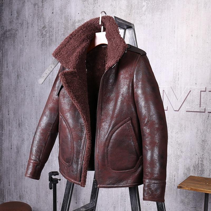 Men's Shearling Jacket Short Leather Jacket Mans Sheepskin Aviator Fur Coat Lambs Fur Outerwear  Flight  Jacket