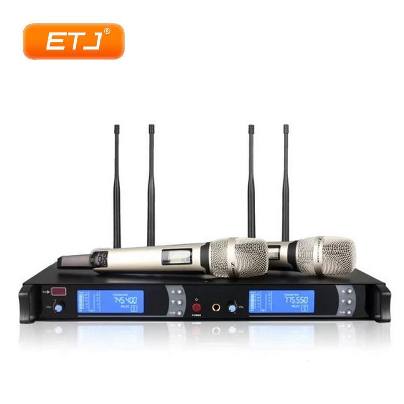 صحيح التنوع اللاسلكية الكاريوكي ميكروفون المرحلة الأداء KTV 2 يده 4 هوائي طويل المسافة مستقرة ميكروفون نظام