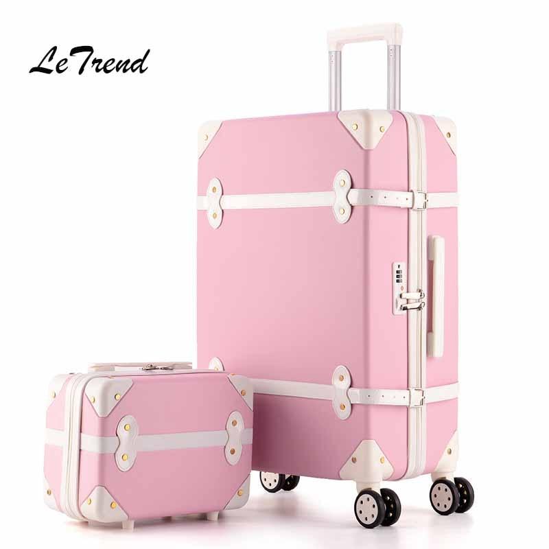Letrend женский чемодан на колесиках, набор чемоданов на колесиках, винтажная Дорожная сумка-Спиннер, чемодан для студентов, жесткий пароль