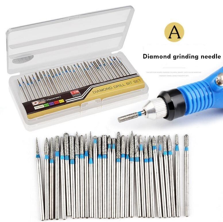 2set 30pcs Diamond grinding needle Milling Cutter Sets Nail Drill Bit Accessory Electric Manicure Salon Nail Files Sanding tool
