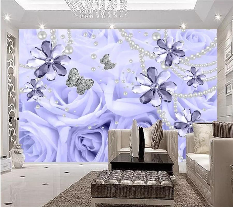 Papel de pared personalizado wellyu papel de pared luz púrpura perla de lujo Pared de rosas 3D joyería de fondo pared ducha cabeza behang