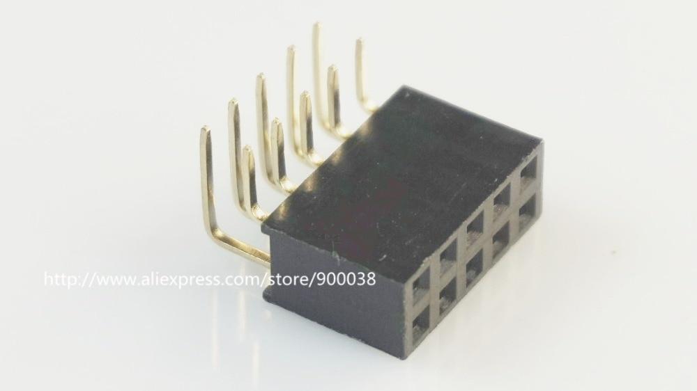 10 Uds 2x5P 10 polos 2,54mm hembra PCB Pin Header ángulo recto una sola fila a través del agujero aislante altura 8,50mm Rohs