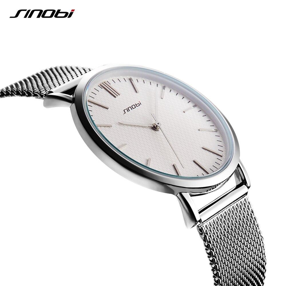 Sinobi Brand Luxury Women Watches Waterproof Ultra Thin Business Silver Stainless Steel Ladies Quartz Geneva Wrist Watch 2019 enlarge