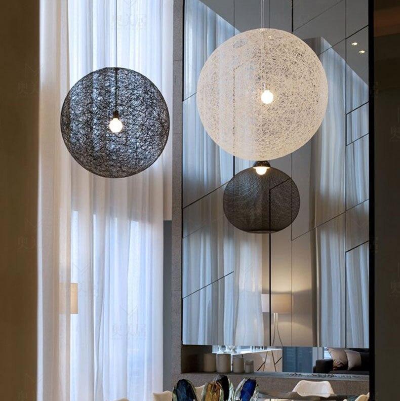 Modern Creative Rattan Pasta Mar Ball Hanging Light for LED E27 Bulb Pendant Lamp for Restaurant Bar Cafe Hallway Staircase