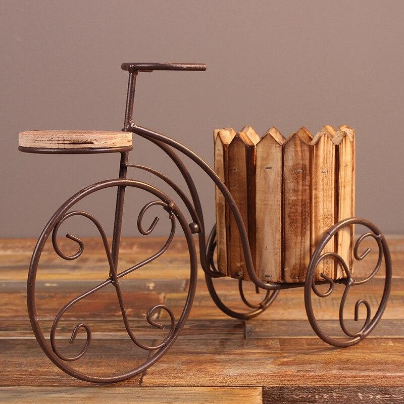 Maceta de escritorio suministros jardinería macetas decoración del hogar bicicleta europea de hierro forjado soporte de flores maceta artesanal