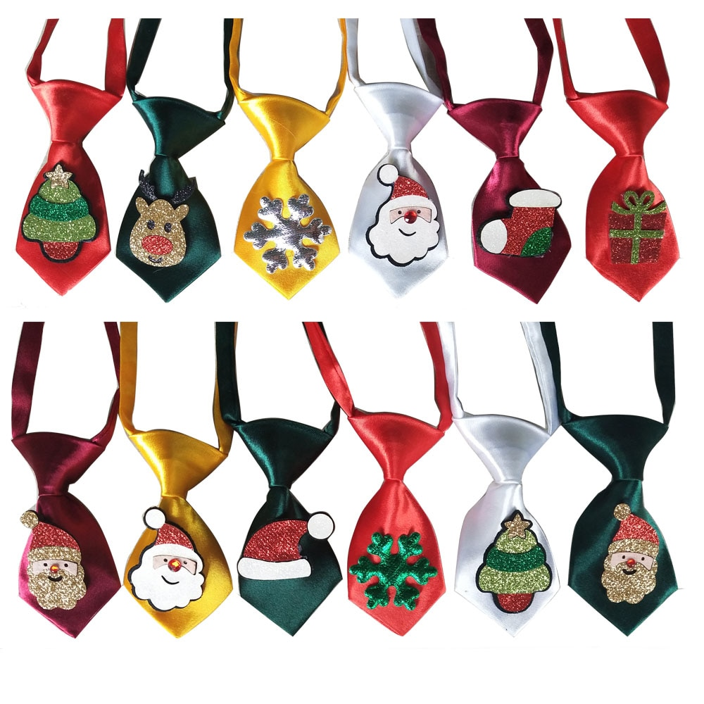 50pcs Christmas Pet Supplies Shining Middle Dog Neckties Bowties Snowman Deer Samll Dog Ties Pet Hol