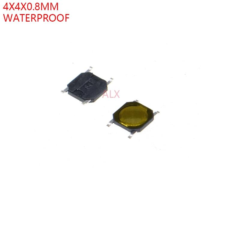 100PCS 4X4x0.8mm 4PIN smd TACT push button switch Micro key power tactile switches 4x4x0.8 4*4*0.8MM Waterproof yellow Membrane