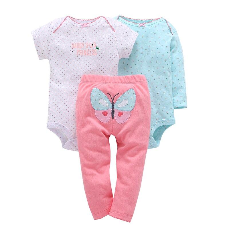 Mameluco con estampado de puntos para bebé niña + Pantalones conjunto de ropa de diseño de mariposa de 3 piezas ropa de primavera 2018 de algodón para bebé recién nacido 0-24