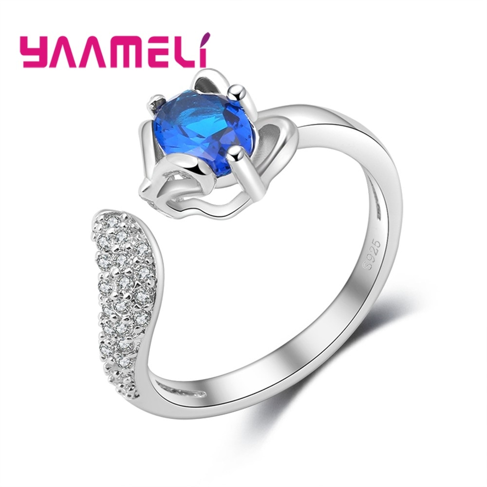 Cute Fox Opening Rings Fashion Design For Girl Women Party Jewelry 925 Sterling Silver 3A+ Zircon Ring Bijoux Resizable cutout butterfly colorful wedding 925 sterling silver rings for women elegant multicolor zircon ring jewelry girl gift bijoux