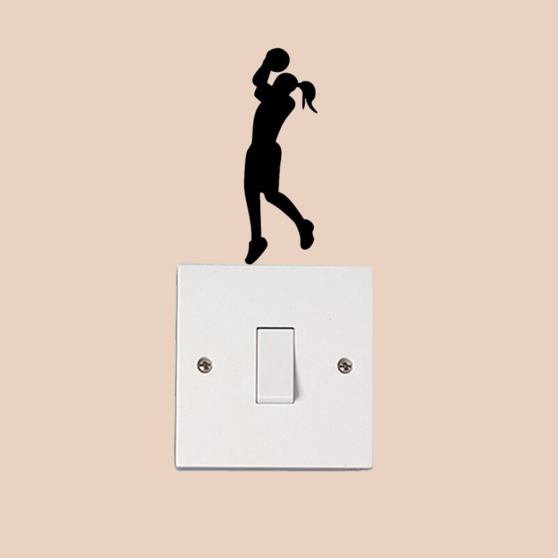 Pegatina de pared de moda para chica de baloncesto, pegatina para interruptor de vinilo 6SS0346