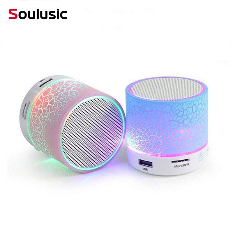 Soulusic nuevo A9 LED Mini inalámbrico Bluetooth grieta altavoces con micrófono manos libres portátil estéreo Audio TF USB LoundSpeaker