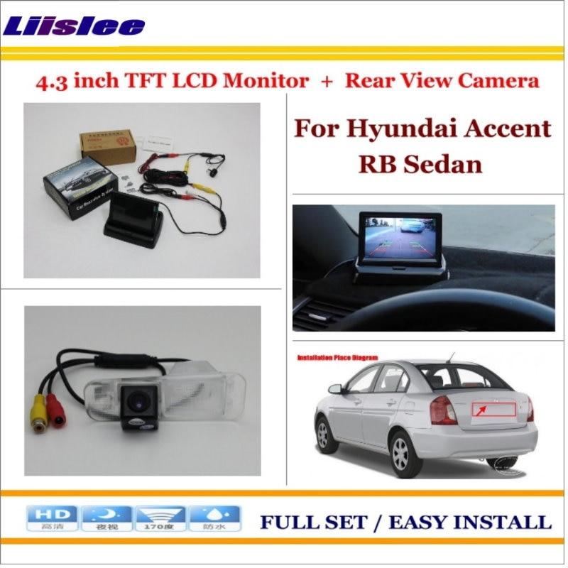 """Para Hyundai Accent RB sedán coche marcha atrás cámara de respaldo & 4,3 """"TFT Pantalla de monitor LCD 2 en 1 sistema de aparcamiento retrovisor"""